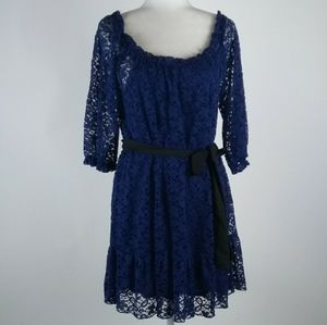 Just Ginger navy blue lace dress size large